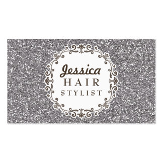 Silver Glitter Hair Stylist Appointment Cards Pack Of Standard Business Cards