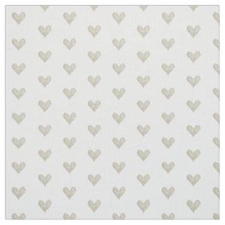 Silver Glitter Heart Fabric