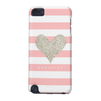 Silver Glitter Heart iPod Touch 5G Cases