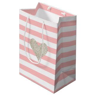 Silver Glitter Heart Medium Gift Bag