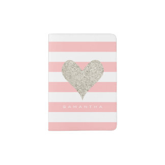 Silver Glitter Heart Passport Holder
