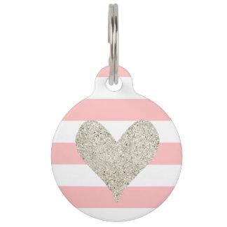 Silver Glitter Heart Pet ID Tag