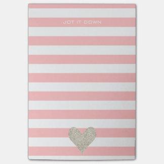 Silver Glitter Heart Post-it Notes