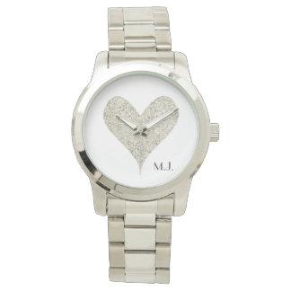 Silver Glitter Heart Watch