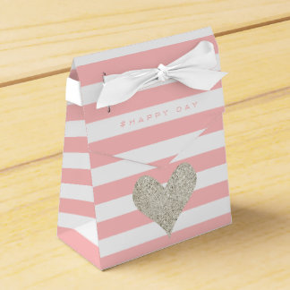 Silver Glitter Heart Wedding Favour Boxes