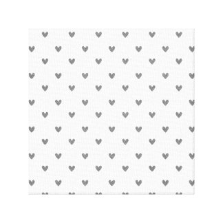 Silver Glitter Hearts Pattern Gallery Wrapped Canvas