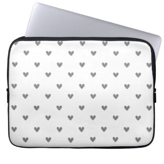 Silver Glitter Hearts Pattern Laptop Computer Sleeve