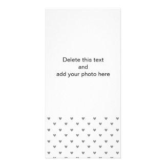 Silver Glitter Hearts Pattern Photo Card