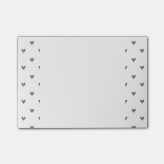 Silver Glitter Hearts Pattern Post-it Notes