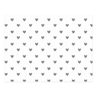 Silver Glitter Hearts Pattern Postcard