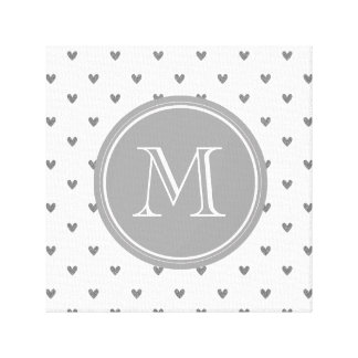 Silver Glitter Hearts with Monogram Stretched Canvas Print