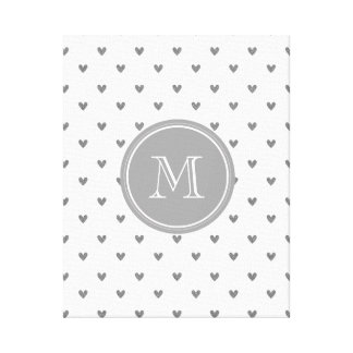 Silver Glitter Hearts with Monogram Stretched Canvas Prints