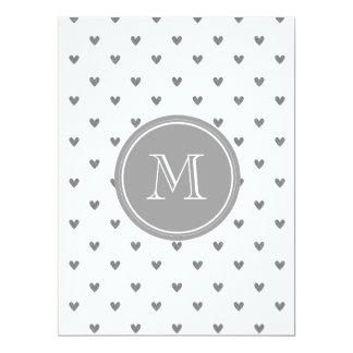"""Silver Glitter Hearts with Monogram 6.5"""" X 8.75"""" Invitation Card"""