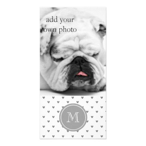 Silver Glitter Hearts with Monogram Custom Photo Card