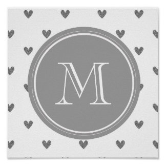 Silver Glitter Hearts with Monogram Poster