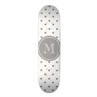 Silver Glitter Hearts with Monogram Skateboard Decks