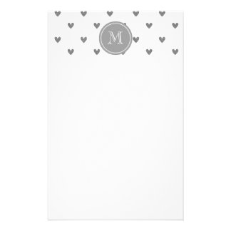 Silver Glitter Hearts with Monogram Stationery