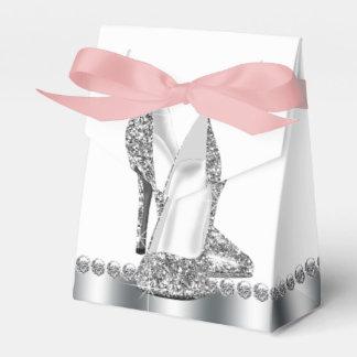 Silver Glitter High Heel Shoe Party Favor Box