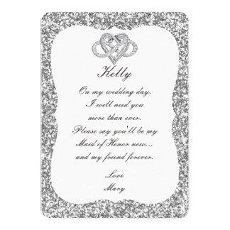 Silver Glitter Infinity Heart Maid Of Honor Card 13 Cm X 18 Cm Invitation Card