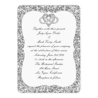 Silver Glitter Infinity Heart Wedding Invitation