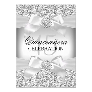 Silver Glitter & Jewel Bow Quinceanera Card