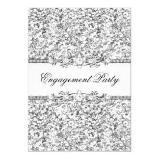 Silver Glitter & Jewel Engagement Party Invite