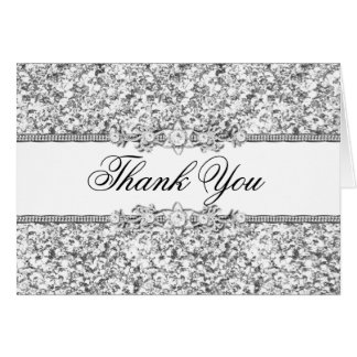 Silver Glitter & Jewel Thank You Card