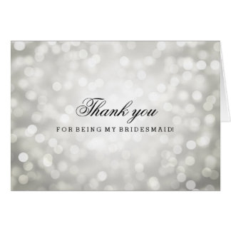 Silver Glitter Lights Thank You Bridesmaid Greeting Card