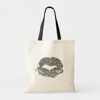 Silver Glitter Lips Tote Bag