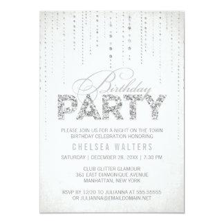 Silver Glitter Look Birthday Party Invitation