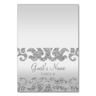 Silver Glitter Look Custom Wedding Escort Cards Table Card