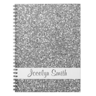 Silver Glitter Look-like And Name Notebooks