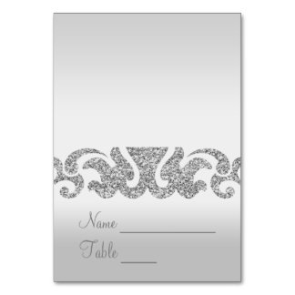 Silver Glitter Look Wedding Escort Cards Table Cards