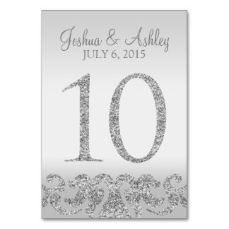 Silver Glitter Look Wedding Table Numbers-10 Card