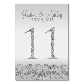 Silver Glitter Look Wedding Table Numbers-11 Table Cards
