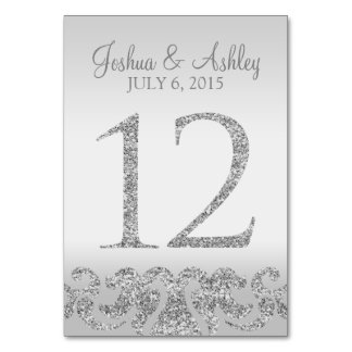 Silver Glitter Look Wedding Table Numbers-12 Table Card