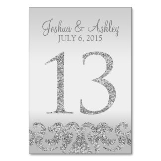 Silver Glitter Look Wedding Table Numbers-13 Table Cards