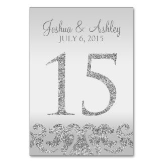 Silver Glitter Look Wedding Table Numbers-15 Table Cards