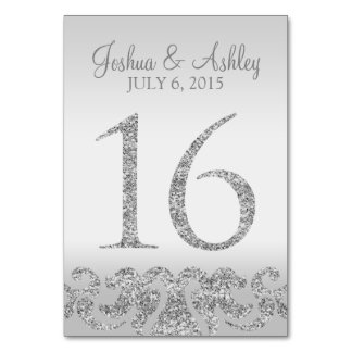 Silver Glitter Look Wedding Table Numbers-16 Table Card