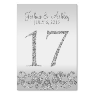Silver Glitter Look Wedding Table Numbers-17 Card