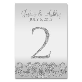 Silver Glitter Look Wedding Table Numbers-2 Table Card