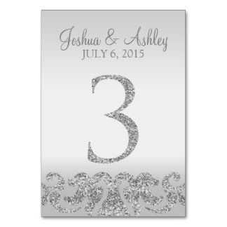 Silver Glitter Look Wedding Table Numbers-3 Table Cards