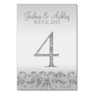 Silver Glitter Look Wedding Table Numbers-4 Table Cards