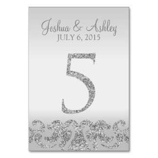 Silver Glitter Look Wedding Table Numbers-5 Table Cards