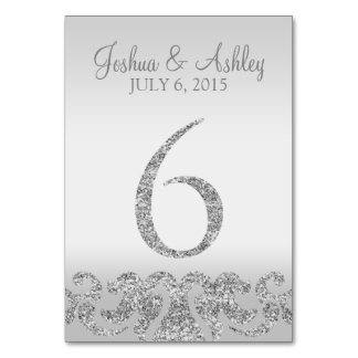 Silver Glitter Look Wedding Table Numbers-6 Table Cards