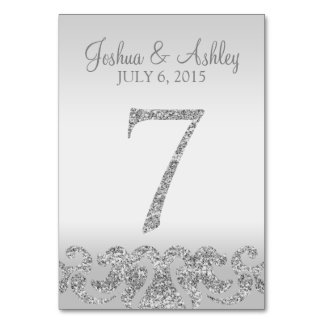 Silver Glitter Look Wedding Table Numbers-7 Table Cards