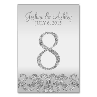 Silver Glitter Look Wedding Table Numbers-8 Table Card