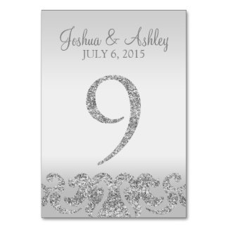 Silver Glitter Look Wedding Table Numbers-9 Table Cards