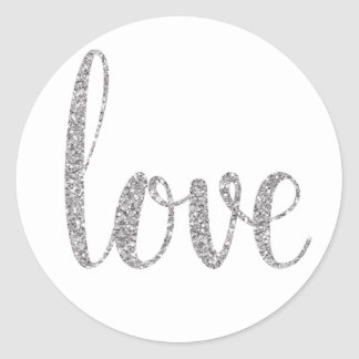 Silver glitter love stickers, round round sticker