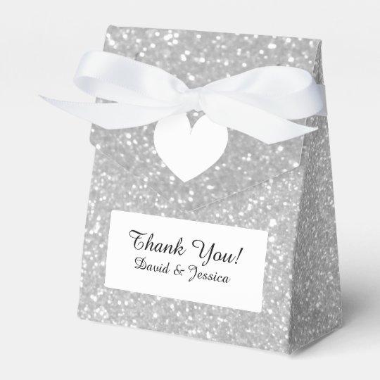 Silver glitter luxury style wedding favour box